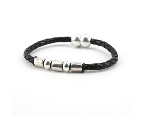 Torino Braided Leather Andiamo Bracelet Black