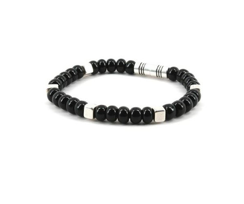 Torino Czech Glass Beads/Silver Cubes on Leather Bracelet Black