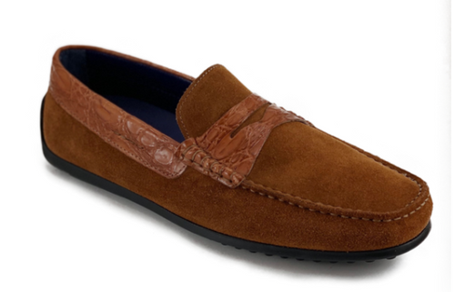Zelli Monza Sueded Calfskin with Crocodile Trim Cognac