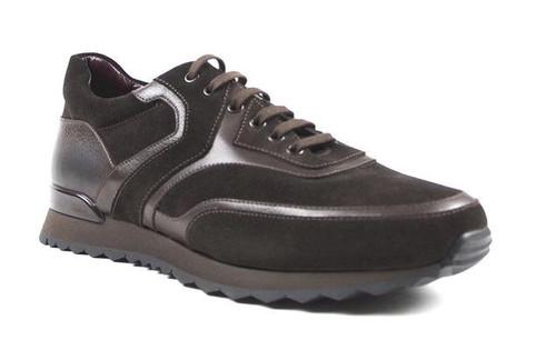 Zelli Milan Italian Sueded Calfskin Sneaker Dark Brown
