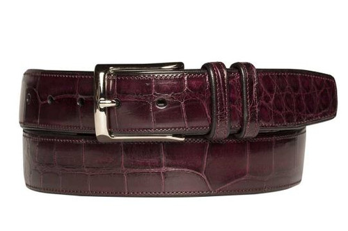 Mezlan Burgundy Genuine Alligator Belt