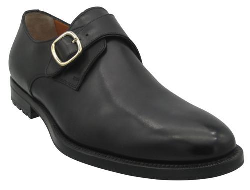 Santoni Chet Black Monk Strap Plain Toe
