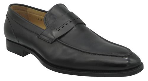 Santoni Piermont Black plain strap slip on