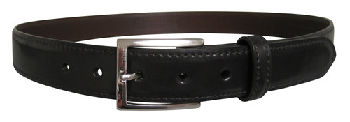Sherman Brothers Genuine Shell Cordovan Belt Black with Nickel Buckle