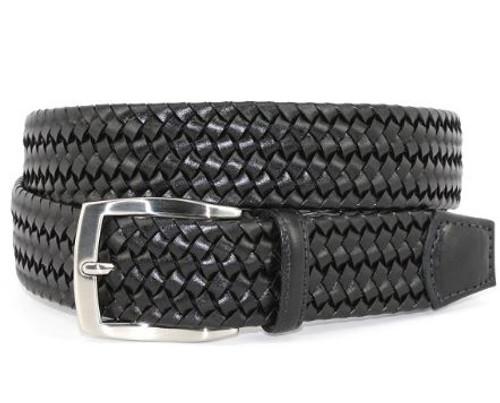 Torino XL Italian Woven Stretch Leather Belt Black