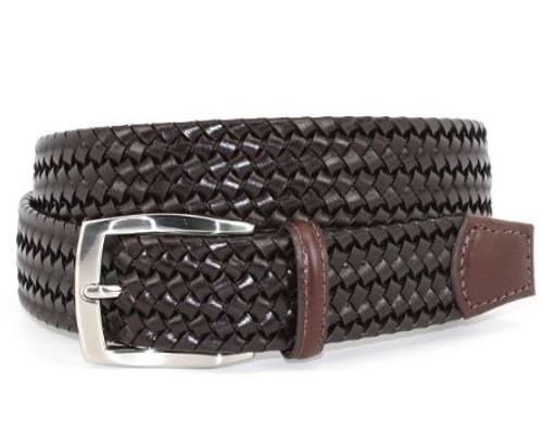 Torino XL Italian Woven Stretch Leather Belt Brown