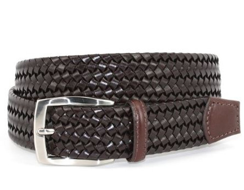 Torino XL Italian Woven Stretch Leather Belt Brown