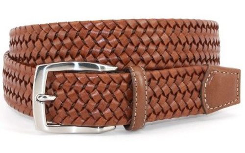 Torino XL Italian Woven Stretch Leather Belt Cognac Tan