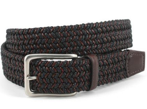 Torino XL Italian Woven Cotton & Leather Belt Black/Brown