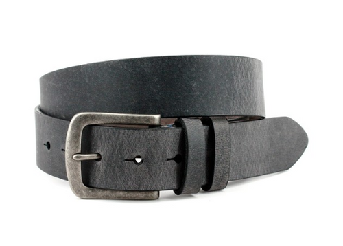 Torino Distressed Waxed Harness Leather Belt Antique Charcoal