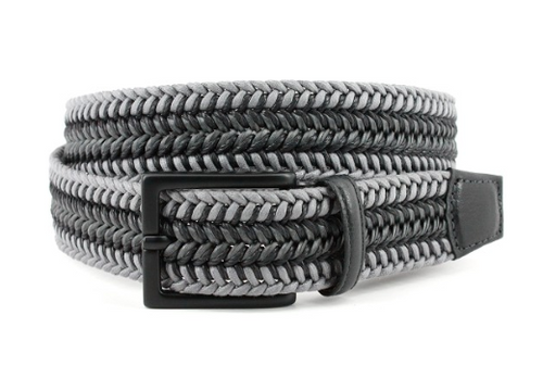Torino Italian Woven Cotton & Leather Belt Grey/Black
