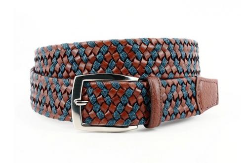 Torino XL Italian Braided Leather & Linen Belt Cognac/Navy