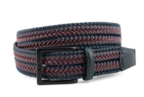 Torino XL Italian Woven Cotton & Leather Belt Navy/Burgundy
