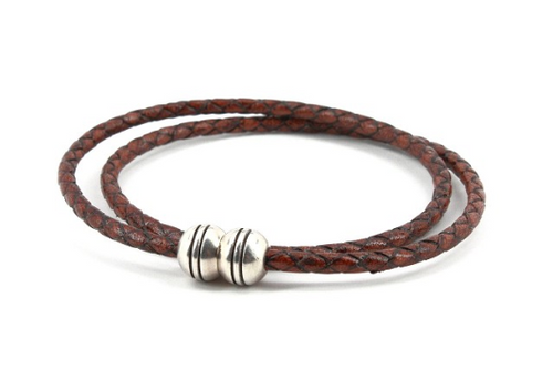Torino Braided Leather Harness Double Wrap Bracelet Brown