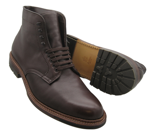 ALDEN PLAIN TOE BOOT Soft Brown Calfskin W/COMMANDO SOLE #4512HC