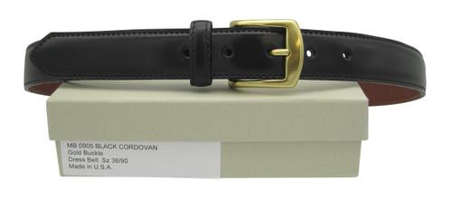 "Alden 1.25"" Genuine Shell Cordovan Dress Black Belt with Gold Buckle # MB0905"