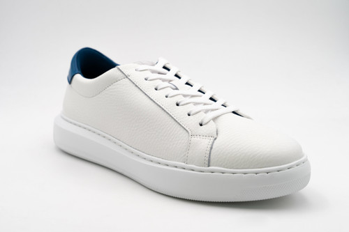 G. Brown Puff White Tumbled Leather Sneaker w/Blue tab #726