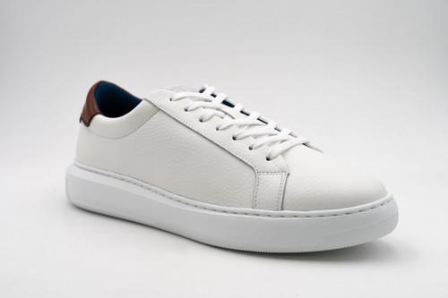 G. Brown Puff White Tumbled Leather Sneaker w/Tan tab #703