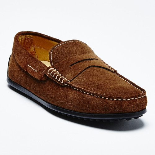 Zelli Monza Sueded Italian Calfskin Driver Brown