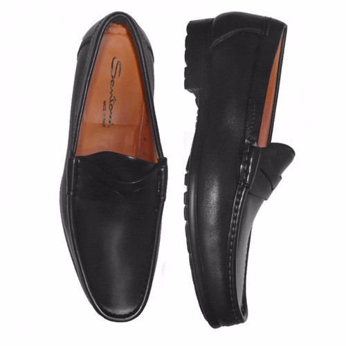 Santoni Ascott Leather Slip-On Black