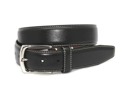 Torino Burnished Tumbled Leather Belt Black