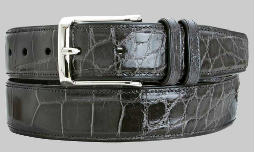 Mezlan Grey Genuine Alligator Belt