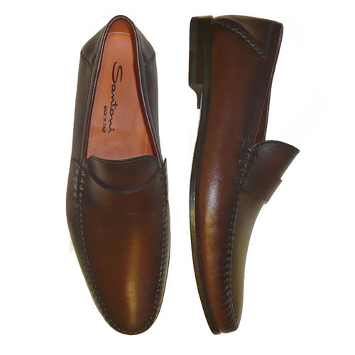 Santoni - Men's Paine Plain strap M2 Brown Slip On
