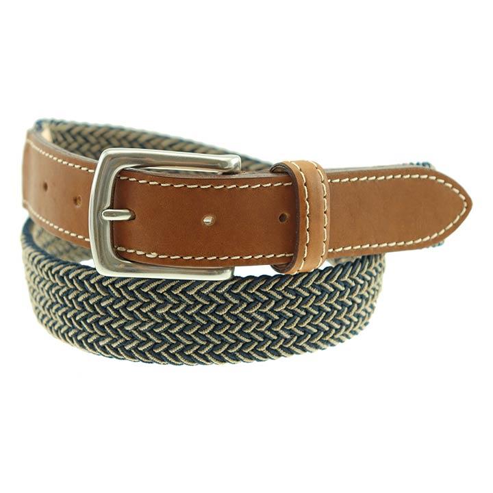 9026154f3cb Sherman Brothers Cooper Elastic Braided Belt Navy/Khaki