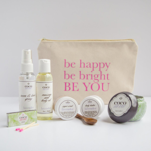Coco La Vie_Be Happy, Be Bright, BE YOU! Pampered Coconut Travel Set_Lavender Scented