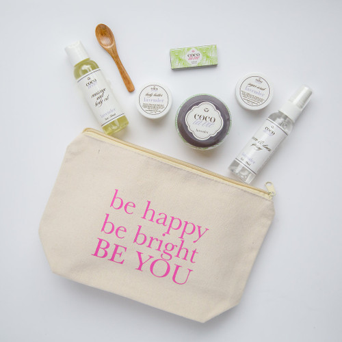 Coco La Vie_Be Happy, Be Bright, BE YOU!  Pampered Coconut Travel Set_Lavender Scented_open