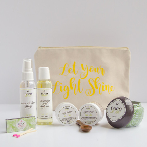 Coco La Vie_Let Your Light Shine Pampered Coconut Travel Set_La Vie Scented