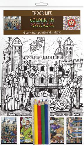 Tudor Life - Colour-in postcards