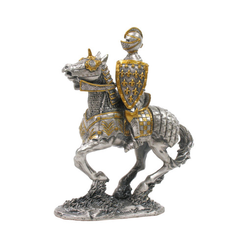 Solid Hand Cast Metal Mounted Knights