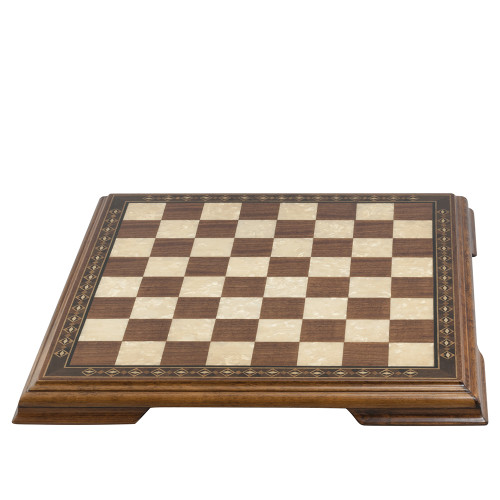 Chessboard with marquetry and legs 57cm Walnut & Eco Mother of Pearl
