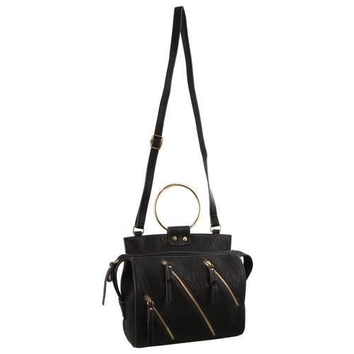 Milleni Cross-Body Handbag with metal handles in Black (NC2723)