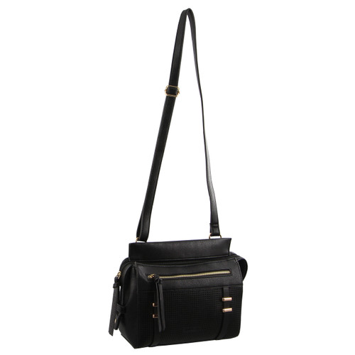 Milleni Cross-Body Handbag with perforated detail in Black (NC2681)
