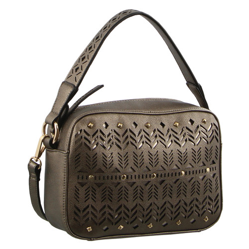 Milleni Hobo Handbag cut out design in Pewter (NC2673)