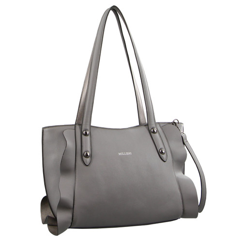 Milleni Tote Handbag with frilled edging detail in Grey (PV2711)
