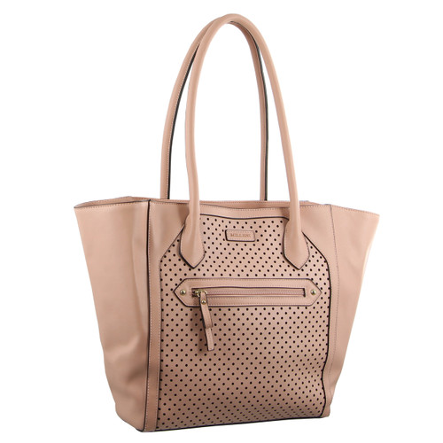 Milleni Fashion Tote Perforated Handbag in Blush (PV2927)