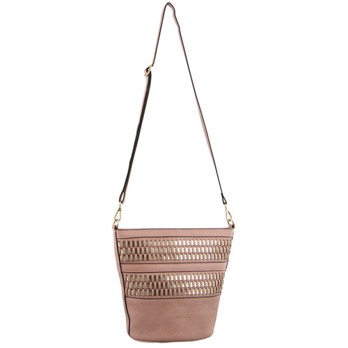 Milleni Cross-Body Handbag Metallic Detail in Blush (NC2933)