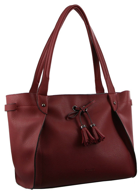 Milleni Italian Leather Tote Handbag in WIne (PV2991)