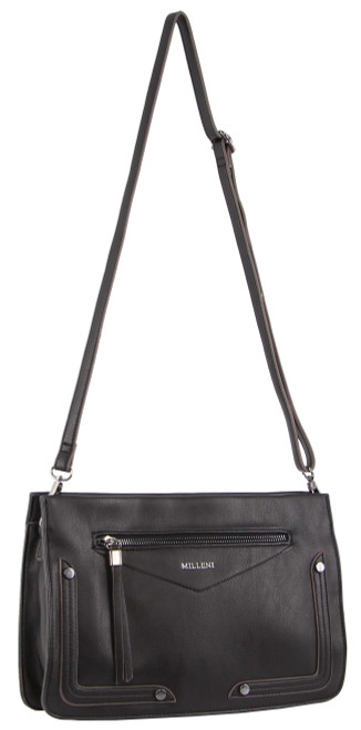 Milleni Ladies Cross Body Handbag/Clutch in Black (NC3091)