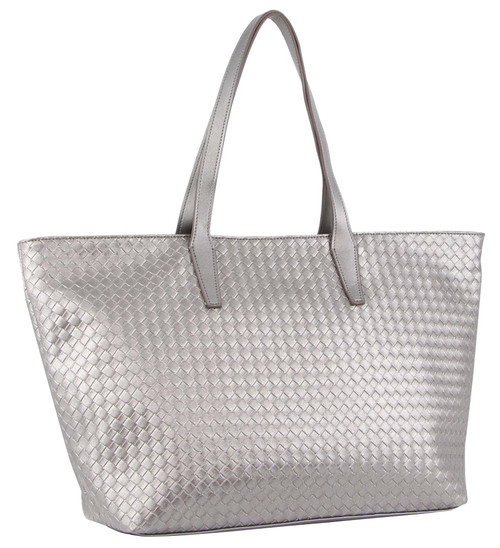 Milleni Fashion Tote Woven Handbag in Pewter (NC3108)