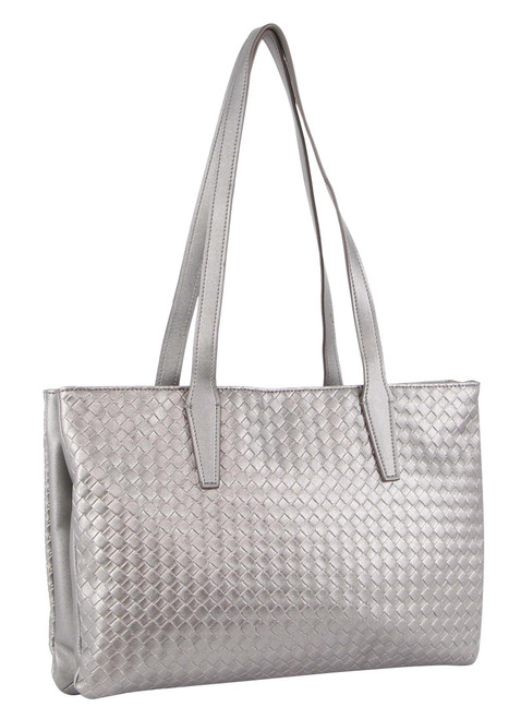 Milleni Fashion Tote Woven Handbag in Pewter (NC3110)