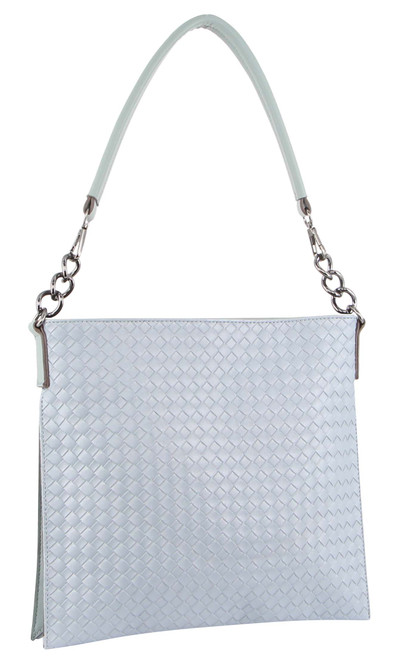 Milleni Ladies Cross Body Woven Handbag/Clutch in Teal (NC3111)