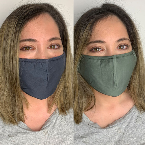 Pack of 2 Reusable 100% Cotton Fabric Face Masks with 2 x PM2.5 Filters in Green & Grey