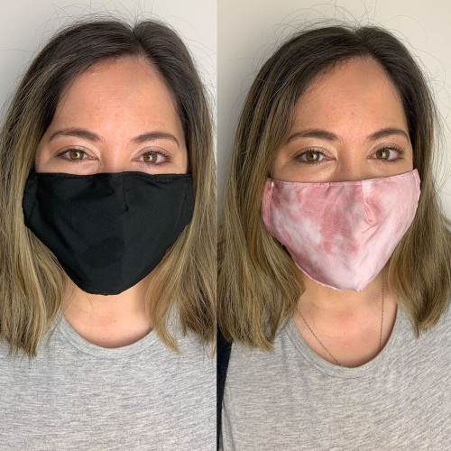 Pack of 2 Reusable 100% Cotton Fabric Face Masks with 2 x PM2.5 Filters in Pink & Black