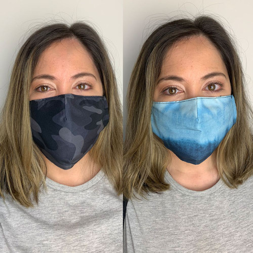 Pack of 2 Reusable 100% Cotton Fabric Face Masks with 2 x PM2.5 Filters in Camo & Blue