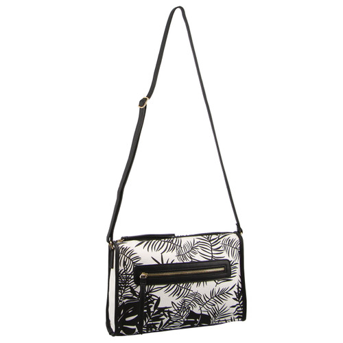 Milleni Ladies Floral Cross-Body Handbag in Black (FB2576)