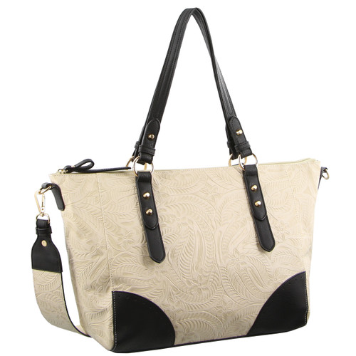 Milleni Ladies Tote Floral Handbag in Black (FB2585)